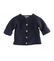 Gilet bébé BEA laine et coton bleu marine