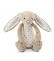 Doudou lapin beige étoiles blanches MEDIUM