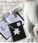 Protège carnet de santé gris foncé ours blanc